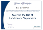 Safe use of Ladders and Steps Certificate Oct 2008